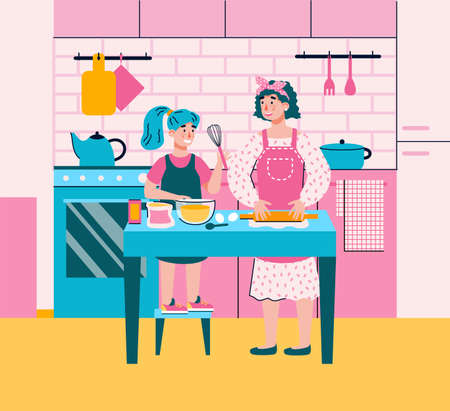 Mom teaching her daughter how to cook food in kitchen. Kid and mother together making dough mixing batter. Woman parenting, flat cartoon vector illustration