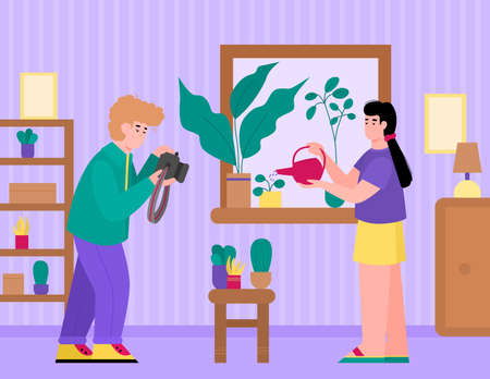 People spending time on favourite hobbies. Woman watering plants and flowers in pots in house and guy making photos of plants, flat cartoon vector illustration