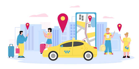 Online taxi banner with people calling taxi using smartphone, cartoon vector illustration. Men and women using commercial internet application for ordering taxi cab. Standard-Bild