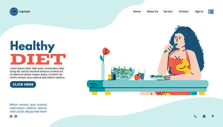 Website page template for healthy lifestyle and healthy diet with character of young woman eating vegetables and balanced food, flat cartoon vector illustration.
