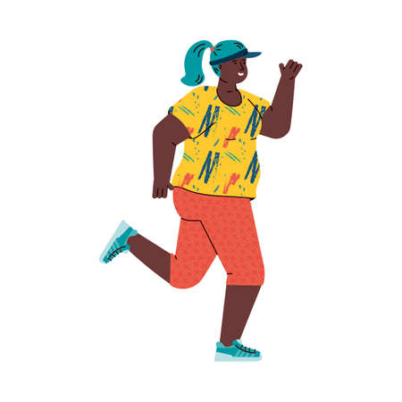 African american woman runner leads a healthy lifestyle. Girl participates in a race or marathon, does fitness and outdoor training. Flat cartoon vector illustration isolated on white.  イラスト・ベクター素材