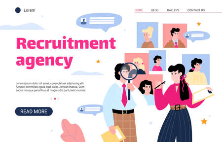 Recruitment agency website interface with HR managers searching for best candidate, flat cartoon vector illustration. Landing page for recruiting and employment.