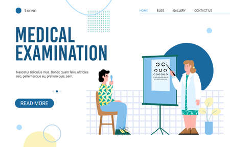 Medical examination landing page for website with ophthalmologist checking eyesight of patient in hospital, flat cartoon vector illustration white background
