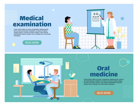 Set of horizontal banners for medical clinic offering vision and dental check-up, flat vector illustration. Patients visiting an ophthalmologist and dentist. Stock Illustratie