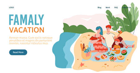 Happy family had picnic on the beach on summer day. Mother, father and son have fun spending leisure, weekends or vacations. Vector flat cartoon illustration. Landing page template