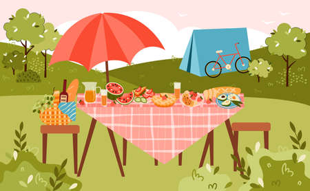 Summer picnic and camping banner with table served for eating on nature and camp tent, flat vector illustration. Summer recreation on nature and camping activity.