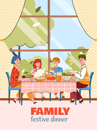 Festive family dinner - cartoon poster with parent and children eating together on summer day. Vector illustration of happy people at home having a meal. Illustration