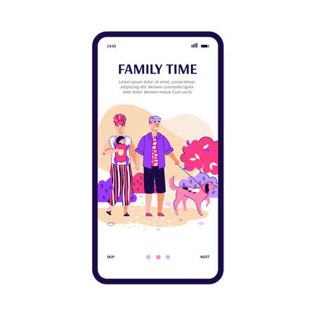 Onboarding mobile screen design with scene of family weekend, flat cartoon vector illustration isolated on white background. Couple with child and dog walking in park.