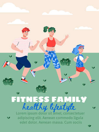 Family fitness and healthy lifestyle poster with cartoon running mother, father and daughter, flat vector illustration. Sport activity for parents and children.