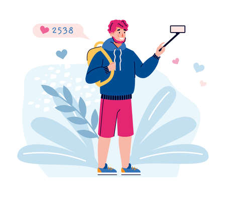 Man filming travel vlog with mobile phone. Vlogger getting likes and views on his travel video, flat cartoon vector illustration isolated white background