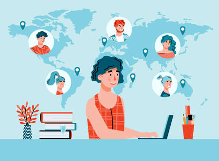 Woman remotely working with international colleagues using online communication and video conference on computer, flat cartoon vector illustration background Vektoros illusztráció