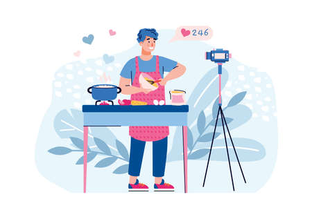 Vlogger filming cooking recipe on camera for his channel. Man making cooking blog and getting likes, flat cartoon vector illustration isolated white background Illusztráció