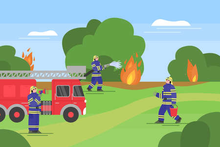 Rescue operation of fire department in forest, flat cartoon vector illustration. Extinguishing of wildfire banner with firetruck, firefighting equipment and firemen in uniform.