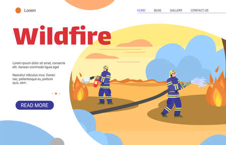 Wildfire banner template - firemen extinguishing wild fire with water and extinguisher. Cartoon firefighter people in uniform at burning landscape, vector illustration