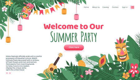 Aloha festival summer party landing page for website decorated with traditional masks and hawaiian guitar with flowers and plants, flat cartoon vector illustration