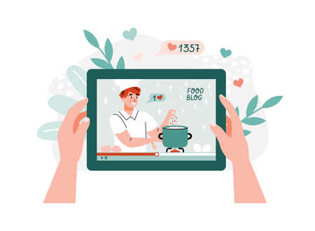 Hands holding tablet with online cooking video tutorial, flat cartoon vector illustration isolated on white background. Video lesson from food blogger.