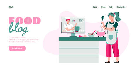 Food blog website interface with woman cooking according to tutorial of blogger or vlogger, flat cartoon vector illustration. Landing page background for culinary blog.