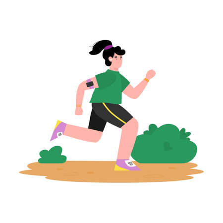 Young woman cartoon character in sportswear jogging in park, flat cartoon vector illustration isolated on white background. Running and jogging sport outdoor activity.