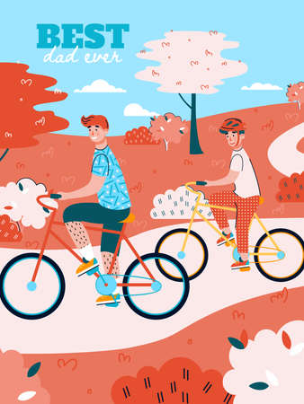 Best dad ever greeting card design for Fathers day with father and son riding bicycle, flat cartoon vector illustration. Happy fatherhood and parenthood banner. 向量圖像