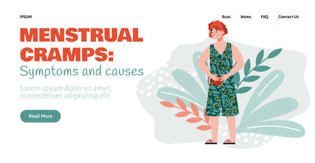 Menstrual cramps ache and people pain landing page for internet website. Woman feeling bad stomachache or period pain, flat cartoon vector illustration Illustration