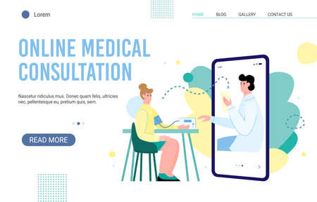 Online medical health care professional consultation website with woman getting advice from doctor, flat cartoon vector illustration. distance diagnosis and consultation. Illusztráció