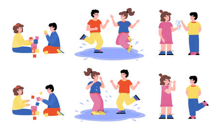 Cartoon characters set of boys and girls demonstrating good and bad behavior, flat vector illustration isolated on white background. Obedient and mischief children.