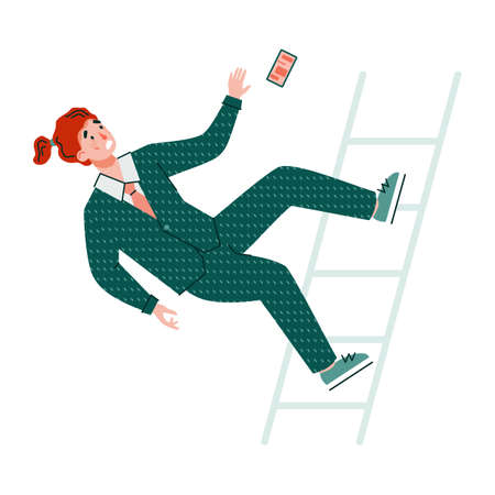 Businessman cartoon character falls from stairs, flat vector illustration on white background. Man in a formal suit falls from height getting injury or wound.