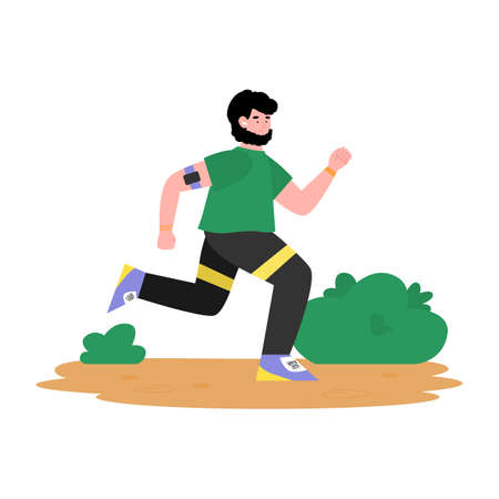 Man is engaged in sports as prescribed doctor nutritionist. Problems of obesity. Healthy lifestyle for lose weight. Runner in the park. Flat cartoon isolated vector illustration Ilustração