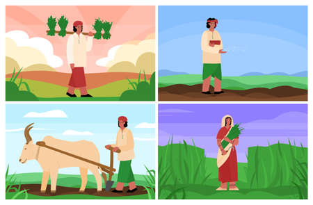 Set of scenes of agricultural works of indian peasants or country people, flat cartoon vector illustration. Harvest pickers characters in traditional Indian clothes.