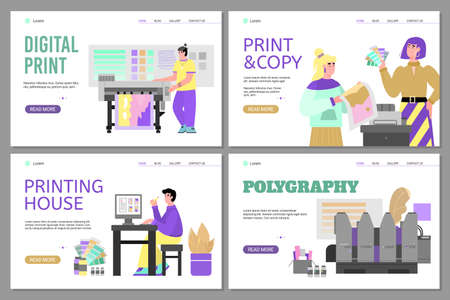 Set of website banners for offset polygraphy services and printing house with cartoon people and print facilities, flat vector illustration. Landing pages for typography.