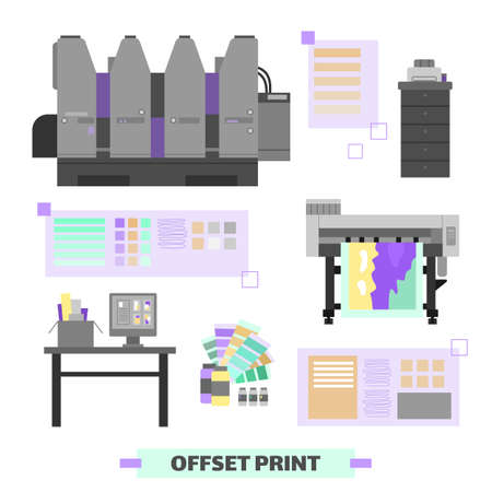 Polygraphy and printing house equipment and facility set of flat cartoon vector illustrations isolated on white background. Offset print and typography items collection.