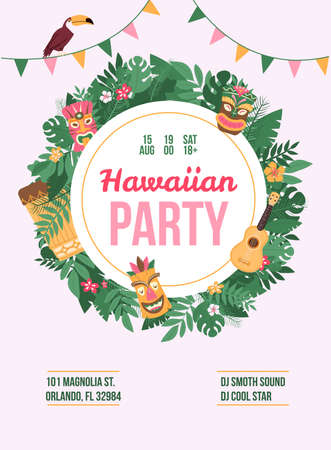 Poster or banner with advertising a summer hawaiian dance party, artists participants, address, date and time. An age restricted party. Colorful exotic vector flat illustration