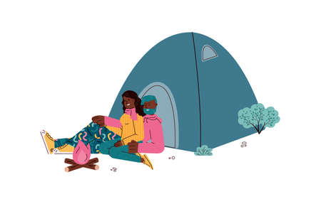 Romantic couple of hikers or tourists, backpackers sitting and resting near campfire at campsite, flat cartoon vector illustration isolated on white background. 向量圖像