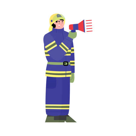 Cartoon character of a firefighter with a megaphone in his hands. A uniformed firefighter warns of an emergency or danger. Flat vector illustration isolated on a white background.