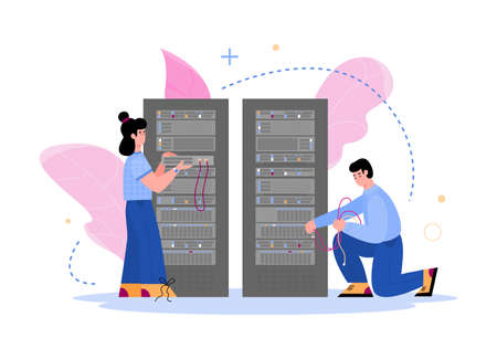 Data center hosting servers and staff. Computer technology of and database storage center equipment, flat cartoon vector illustration isolated on white background.