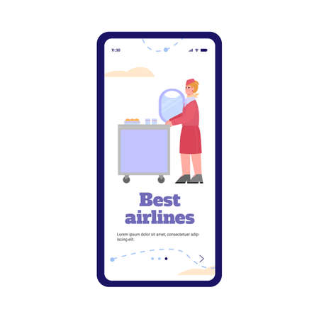 Best airlines onboaring page for mobile phone application. Flight attendant offering plane passengers food and drink, flat cartoon vector illustration white background