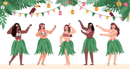 Group of beautiful happy hawaiian girls in traditional costumes dance hulu. Polynesian dancers in grass skirts and with flowers in hair. Flat cartoon vector illustration. Banque d'images