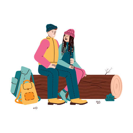 Couple of young tourists man and woman rest sitting on a log, flat cartoon vector illustration isolated on white background. Characters for hiking and tourism topic.
