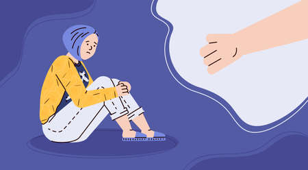 The concept of mental health, female psychology, suicide prevention and support for depressed teenager girls. Helping hand for sad unhappy lonely young woman. Vector illustration Vettoriali