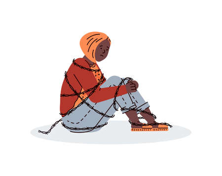 Depressed, lonely teenager girl is sitting on floor, hugging her knees. Sad, unhappy young woman entangled by barbed wire. Female psychology, suicide prevention. Vector illustration