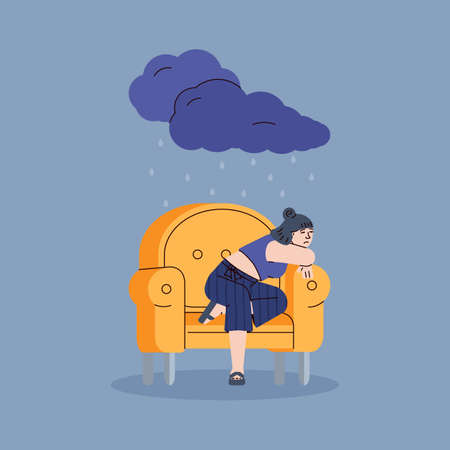 Depressed sad young woman sitting alone in a yellow chair. Unhappy upset girl in rain from a dark cloud. Psychology, female psyche, bad mood and stress. Vector line illustration Vettoriali