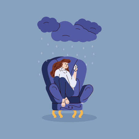 Depressed sad young woman sitting alone in chair in rain from a dark cloud. Unhappy upset girl reads the chat on the mobile phone screen. Vector illustration Vettoriali