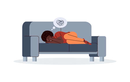 Depressed suffering unhappy woman lies on couch covering his face with hands. Upset young girl with bad thoughts. Female psyche, suicide prevention. Vector illustration