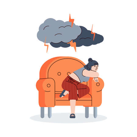 Sad young woman sitting alone in a chair. Depressed unhappy girl under lightning from dark clouds. Female psyche and psychology, bad mood and stress. Vector line illustration