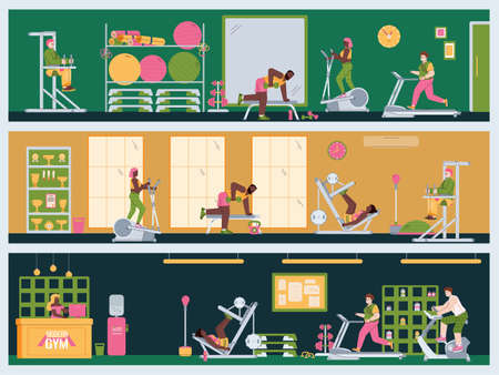 Interior of the gym with equipment and people engaged in sports, fitness, workout or exercises. Active healthy lifestyle. Vector illustration. Set of horizontal banners.