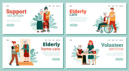 Website banners set for volunteer services of elderly persons supporting, flat cartoon vector illustration. Old people help and daily assistance service.
