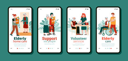 Onboarding mobile screens set for elderly people support with cartoon characters of volunteers, flat cartoon vector illustration. Volunteering services for old people.