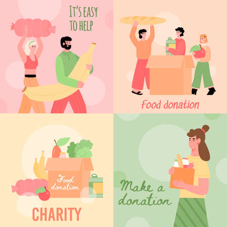 Set of cards with concept of charity and support for poor, homeless and hungry. Volunteers carry food and filling cardboard donation boxes to help of shelter. Vector illustrations.