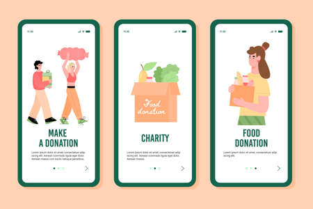 Onboarding screens set for charity foundations organising event of food donation, flat cartoon vector illustration. People bringing foods for donation and distribution.