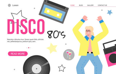 Disco 80s retro party website banner template with cartoon disco dancer, flat vector illustration. Retro music and dance club web or landing page interface design.
